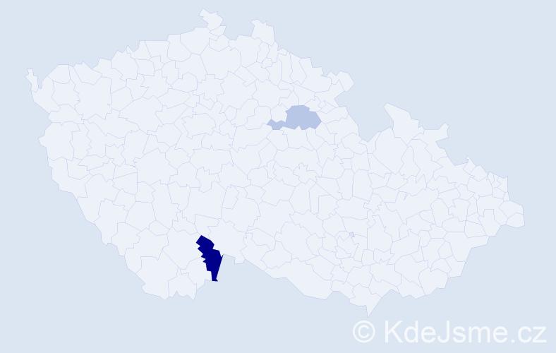 Příjmení: 'Baierlingová', počet výskytů 9 v celé ČR