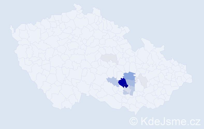 Příjmení: 'Kytner', počet výskytů 45 v celé ČR