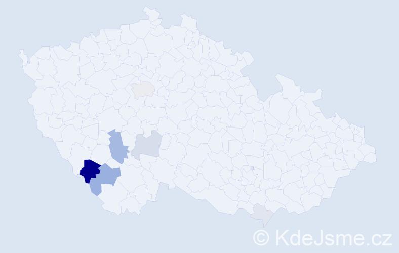 Příjmení: 'Chroňáková', počet výskytů 23 v celé ČR
