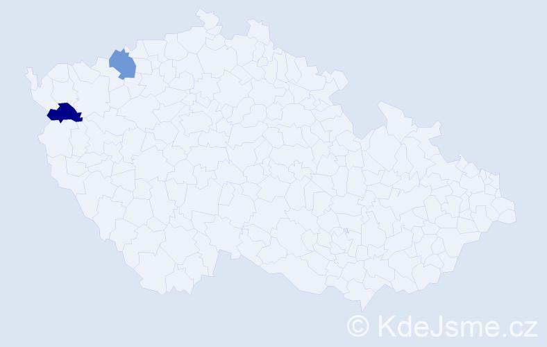 Příjmení: 'Chara', počet výskytů 2 v celé ČR