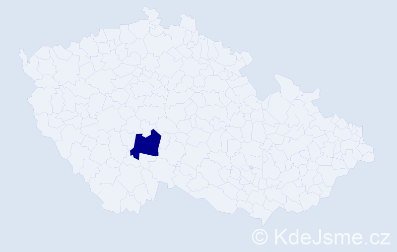 """Příjmení: '""""Loudínová Krázlová""""', počet výskytů 1 v celé ČR"""