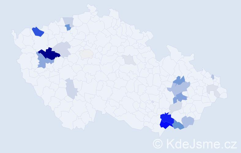 Příjmení: 'Krša', počet výskytů 66 v celé ČR