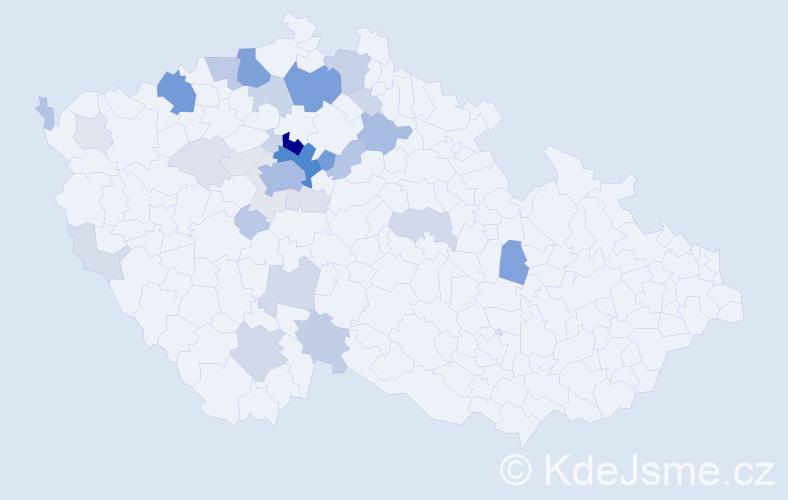 Příjmení: 'Horčíková', počet výskytů 141 v celé ČR