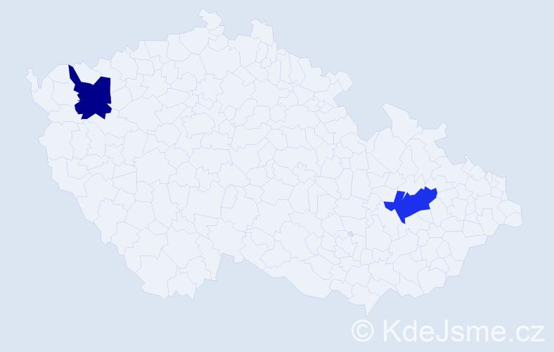 Příjmení: 'Grančarov', počet výskytů 4 v celé ČR