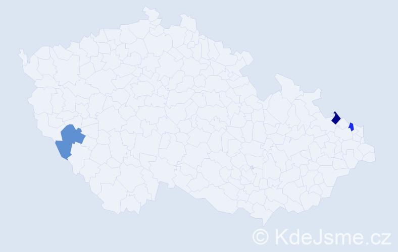 Příjmení: 'Jamnitzká', počet výskytů 3 v celé ČR