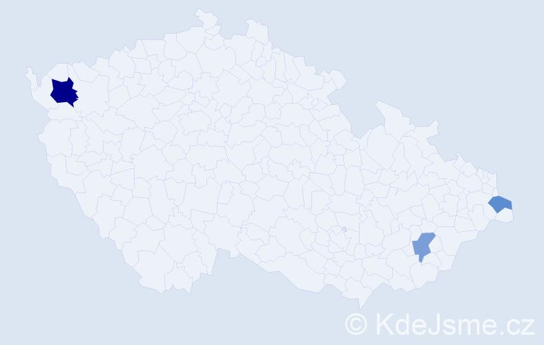 Příjmení: 'Lazúr', počet výskytů 5 v celé ČR