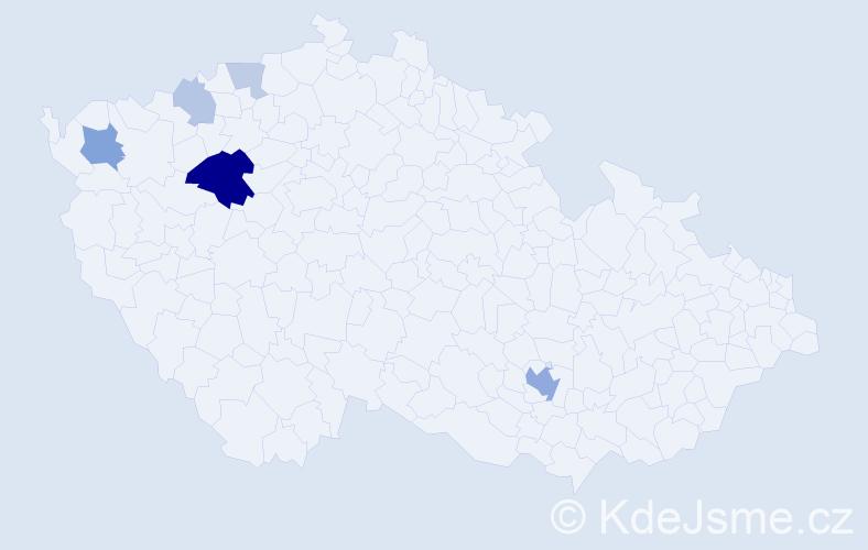 Příjmení: 'Banka', počet výskytů 15 v celé ČR