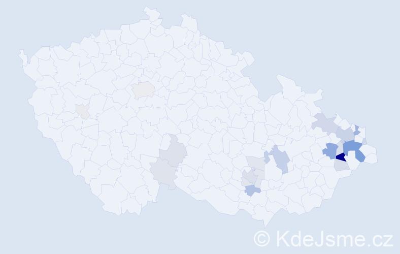 Příjmení: 'Knězek', počet výskytů 68 v celé ČR