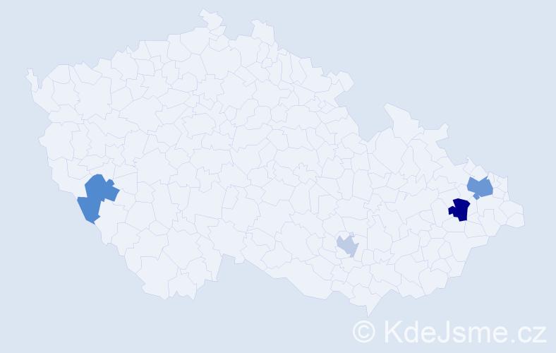 Příjmení: 'Juliová', počet výskytů 7 v celé ČR