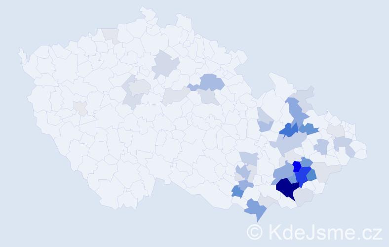 Příjmení: 'Dovrtělová', počet výskytů 148 v celé ČR
