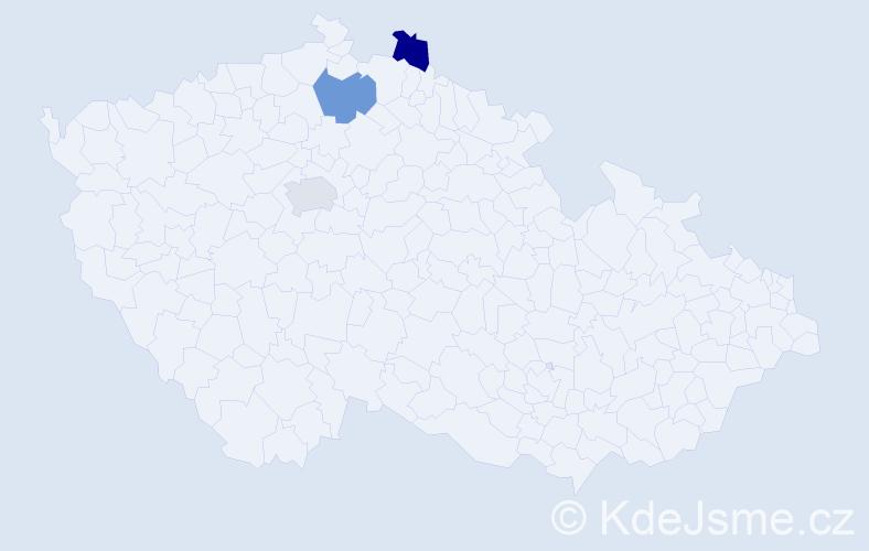 Příjmení: 'Hajdok', počet výskytů 3 v celé ČR