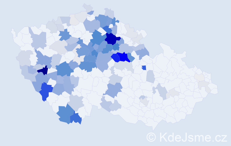 Příjmení: 'Knížková', počet výskytů 450 v celé ČR