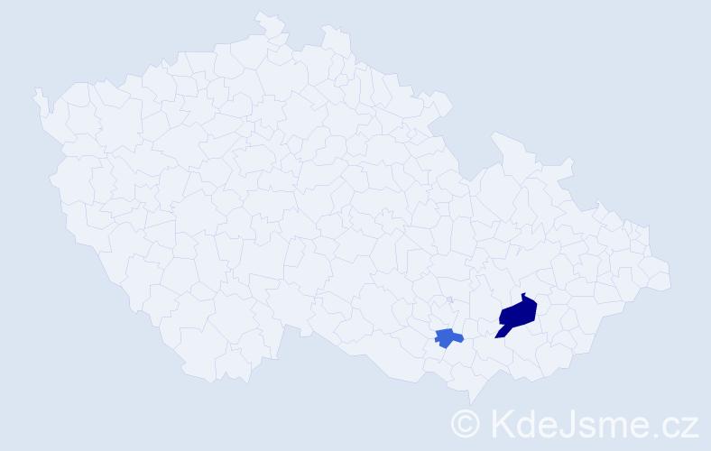 Příjmení: 'Badanková', počet výskytů 5 v celé ČR