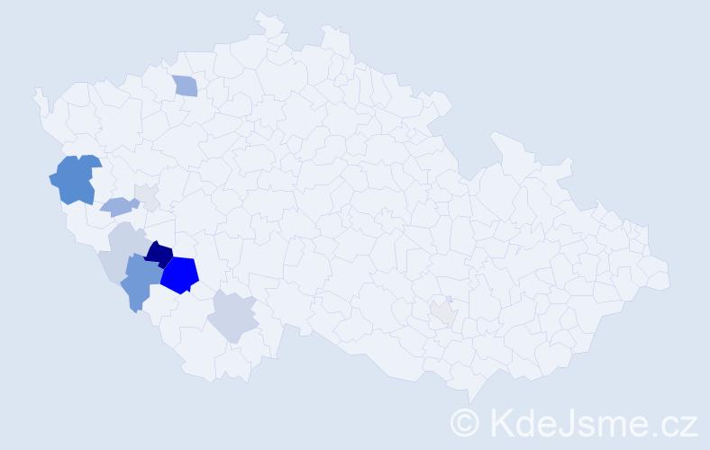 Příjmení: 'Chodlová', počet výskytů 27 v celé ČR