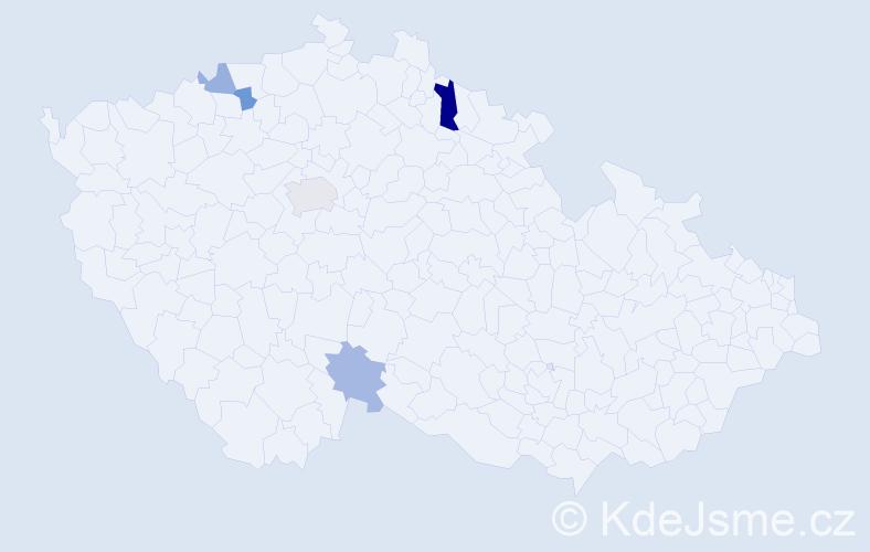 Příjmení: 'Gulík', počet výskytů 8 v celé ČR
