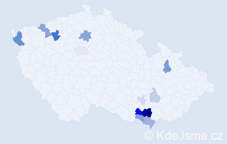 Příjmení: 'Kopčíková', počet výskytů 31 v celé ČR