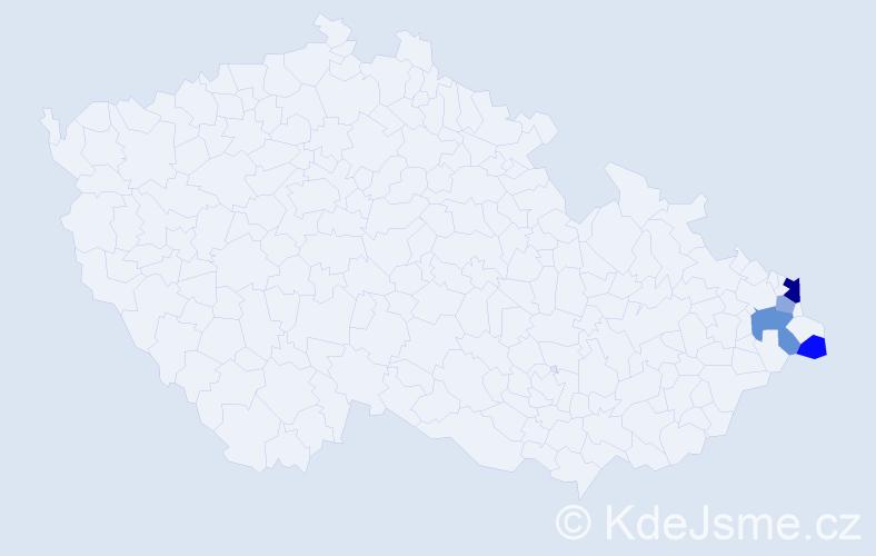 Příjmení: 'Cyganek', počet výskytů 8 v celé ČR