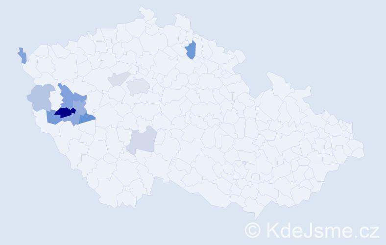 Příjmení: 'Kastenová', počet výskytů 27 v celé ČR