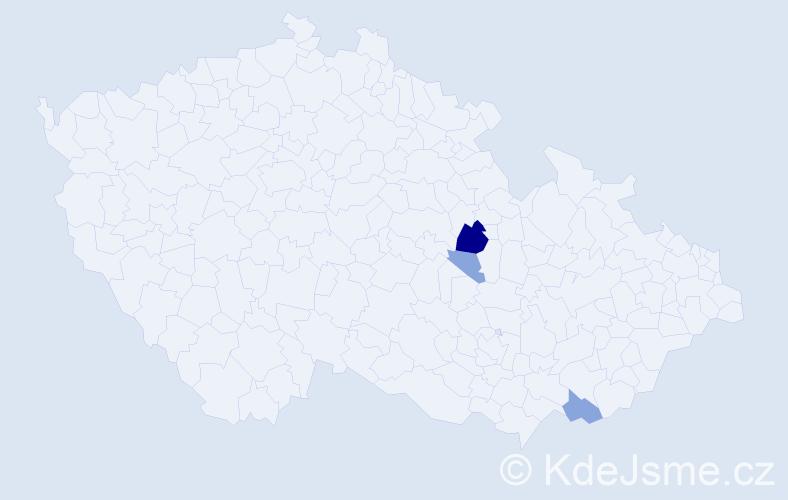 Příjmení: 'Girčáková', počet výskytů 9 v celé ČR