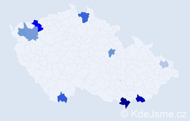 Příjmení: 'Áčová', počet výskytů 24 v celé ČR