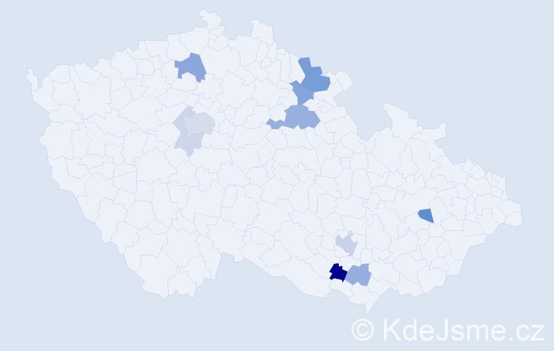 Příjmení: 'Knaifl', počet výskytů 23 v celé ČR