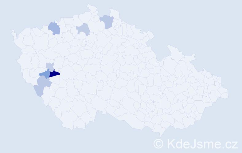 Příjmení: 'Hulecová', počet výskytů 11 v celé ČR