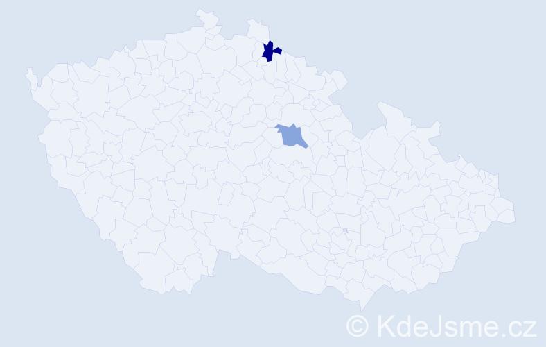Příjmení: 'Lajgút', počet výskytů 2 v celé ČR