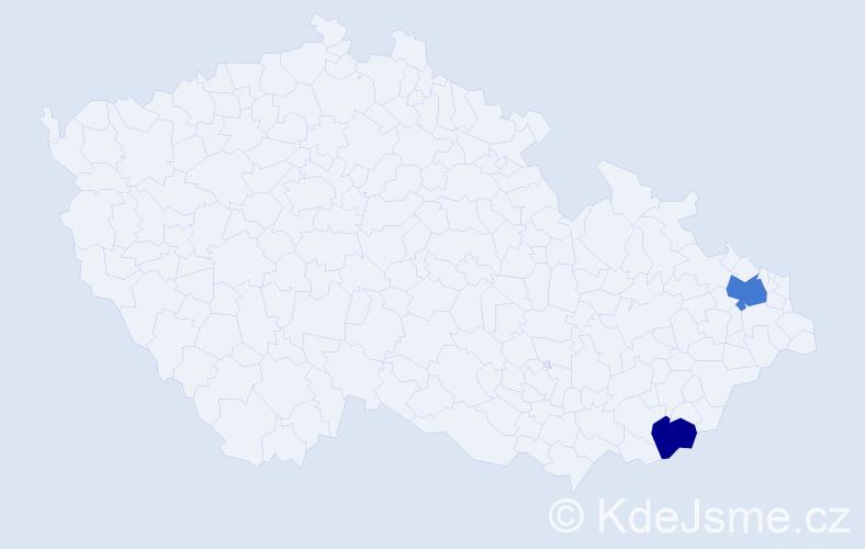 Příjmení: 'Aly', počet výskytů 3 v celé ČR