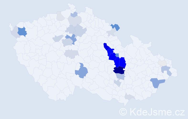 Příjmení: 'Jokešová', počet výskytů 105 v celé ČR