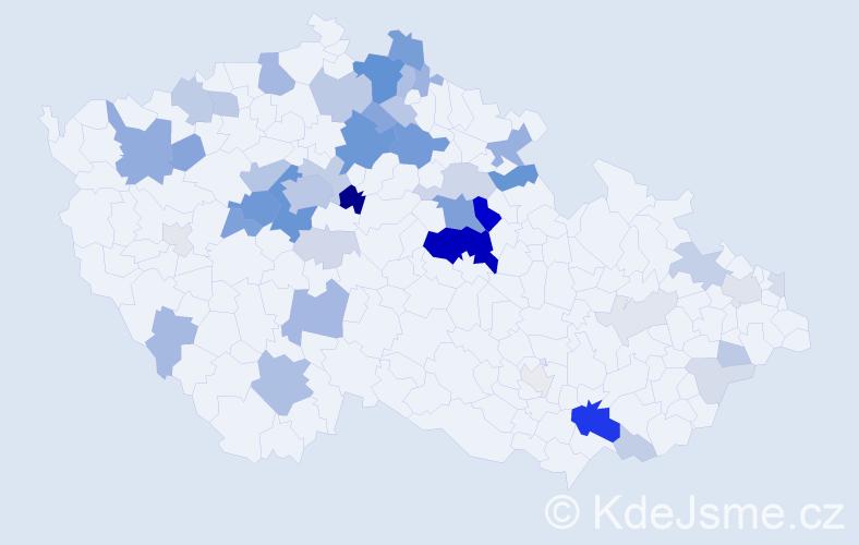 Příjmení: 'Čmelíková', počet výskytů 158 v celé ČR