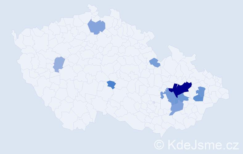 Příjmení: 'Ježáková', počet výskytů 30 v celé ČR