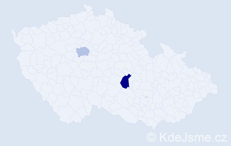Příjmení: 'Kalicherová', počet výskytů 3 v celé ČR