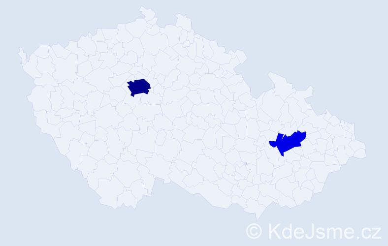 Příjmení: 'Kadiev', počet výskytů 8 v celé ČR