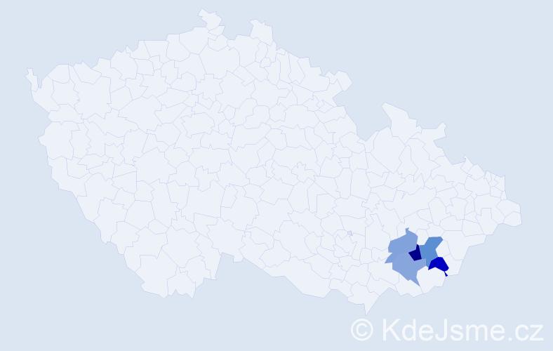Příjmení: 'Čuč', počet výskytů 7 v celé ČR