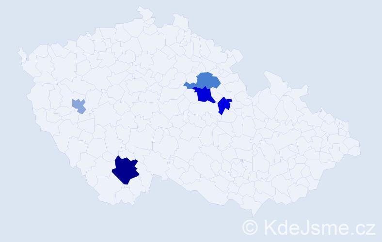 Příjmení: 'Ledajaksová', počet výskytů 11 v celé ČR