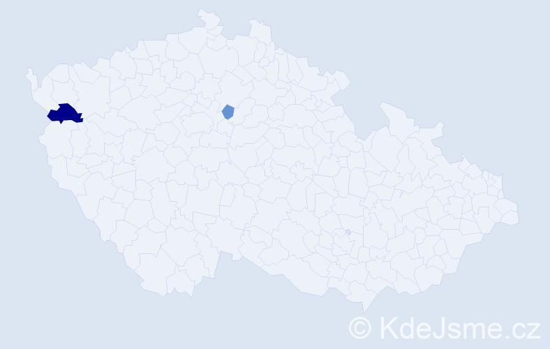Příjmení: 'Glagoličová', počet výskytů 4 v celé ČR