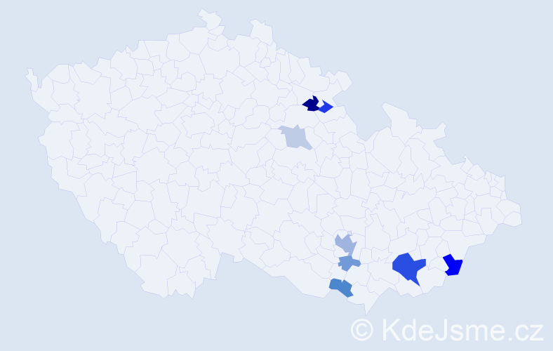 Příjmení: 'Bedroš', počet výskytů 17 v celé ČR
