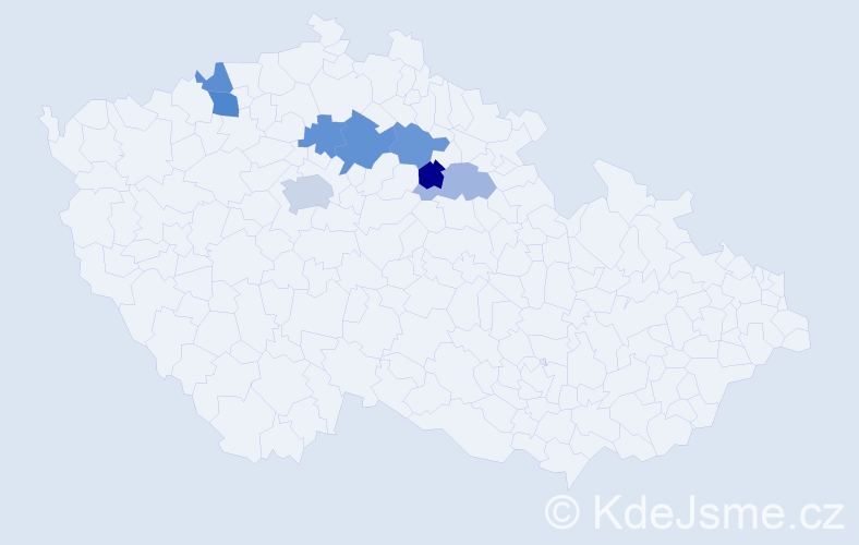 Příjmení: 'Klapšťová', počet výskytů 12 v celé ČR