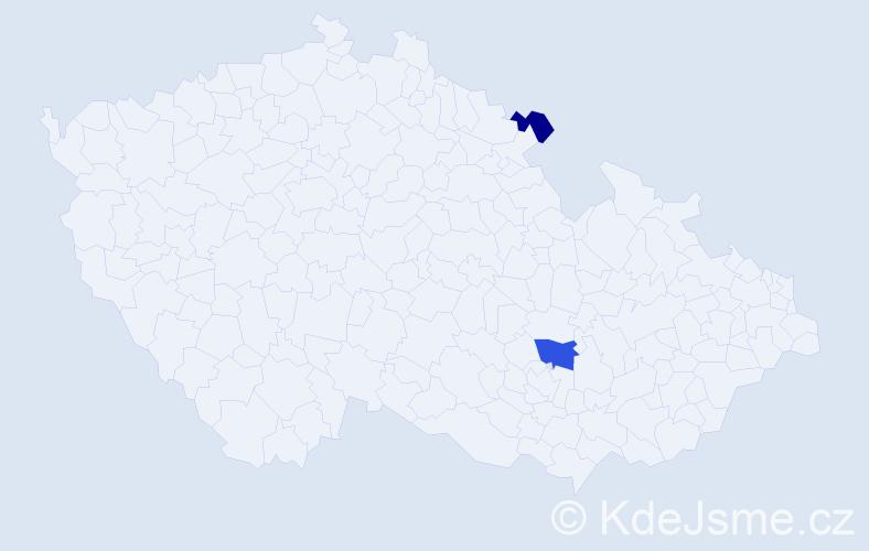 Příjmení: 'Blím', počet výskytů 3 v celé ČR