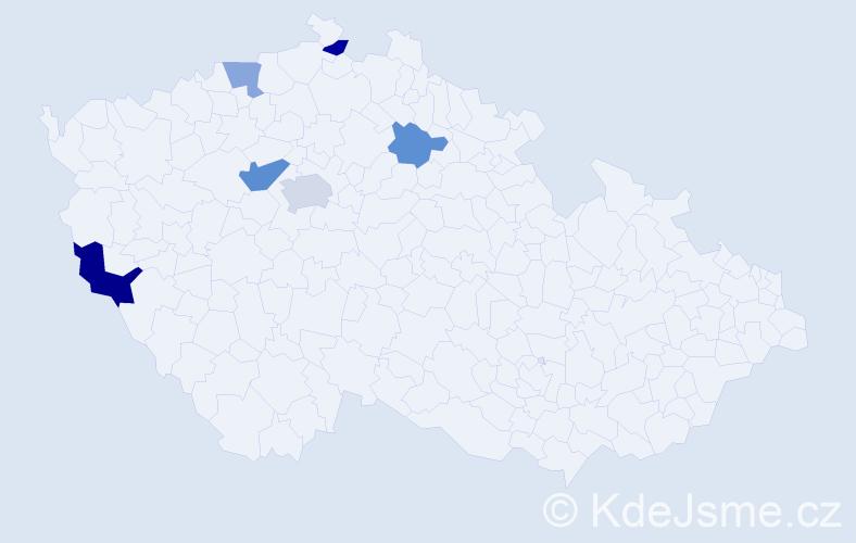 Příjmení: 'Hládková', počet výskytů 9 v celé ČR