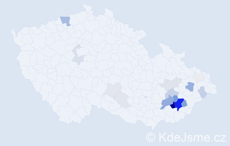 Příjmení: 'Gazdoš', počet výskytů 75 v celé ČR