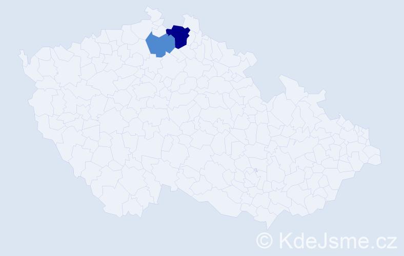 Příjmení: 'Estočák', počet výskytů 4 v celé ČR