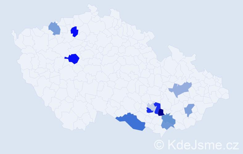 Příjmení: 'Bohátková', počet výskytů 14 v celé ČR