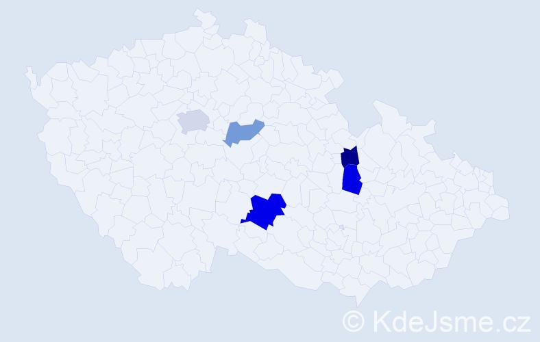 Příjmení: 'Csillagová', počet výskytů 8 v celé ČR