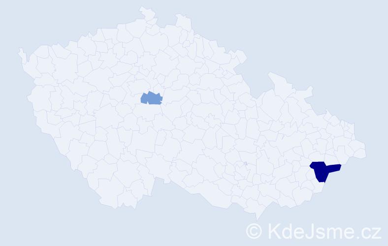 Příjmení: 'Getting', počet výskytů 5 v celé ČR