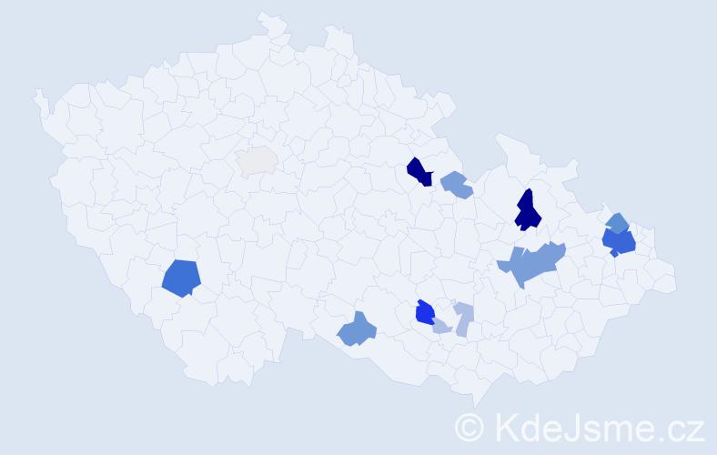 Příjmení: 'Kolibáč', počet výskytů 34 v celé ČR