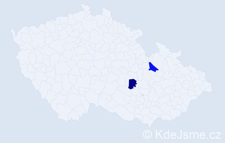 Příjmení: 'Gruz', počet výskytů 9 v celé ČR