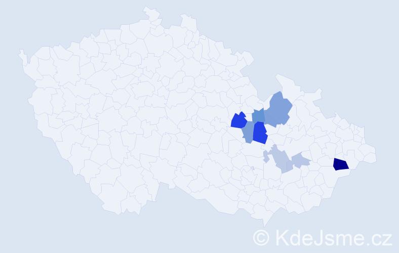 Příjmení: 'Jarmerová', počet výskytů 15 v celé ČR