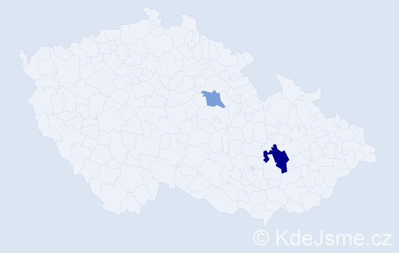 Příjmení: 'Capay', počet výskytů 4 v celé ČR