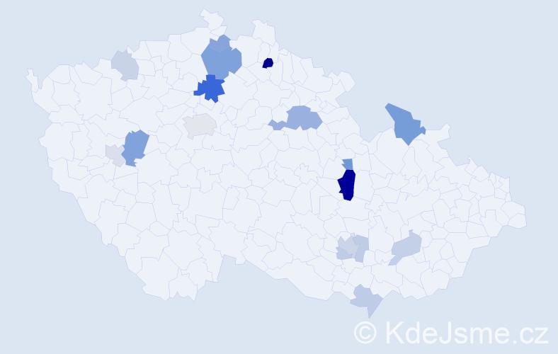 Příjmení: 'Janele', počet výskytů 34 v celé ČR